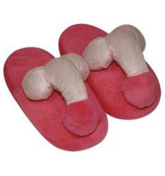 Plyšové růžové papuče - ve tvaru penisu