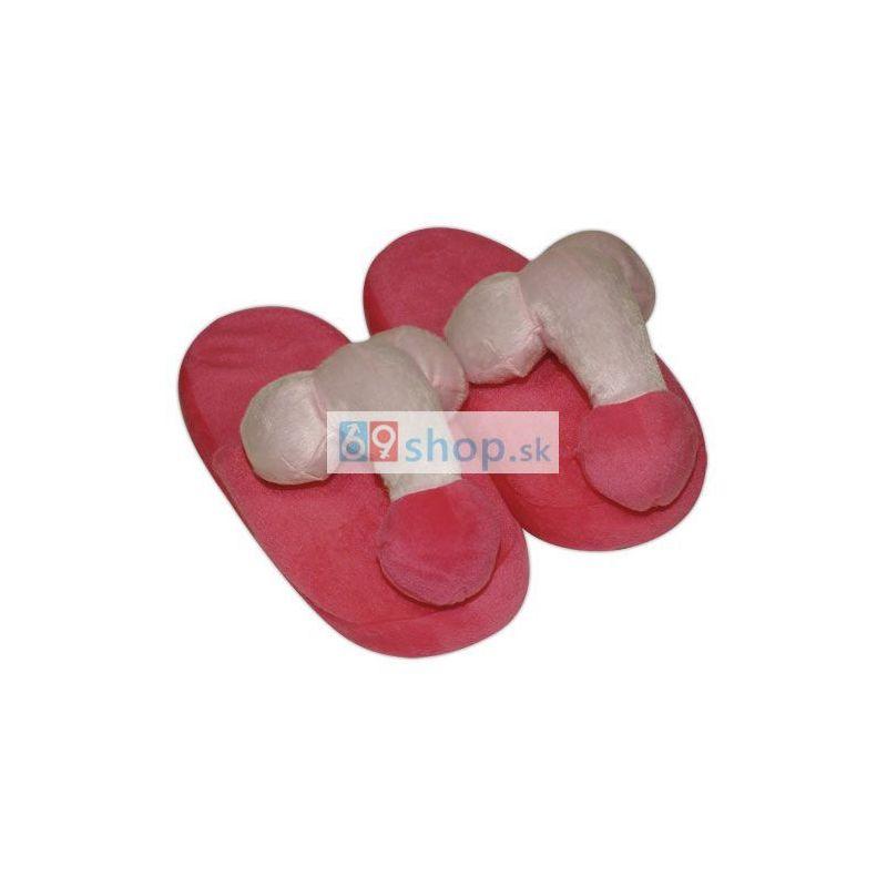 Levně Plyšové růžové papuče - ve tvaru penisu