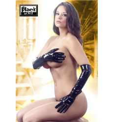 Dlhé čierne lakové rukavice