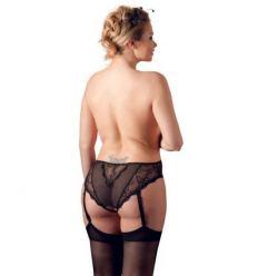 SET Cottelli Plus Size krajkové kalhotky s podvazky černé