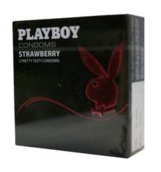 Kondomy Playboy s chutí a vůní jahod 3ks