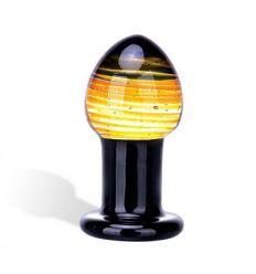 Skleněné dildo GLASTOY Galileo Butt Plug černo zlaté