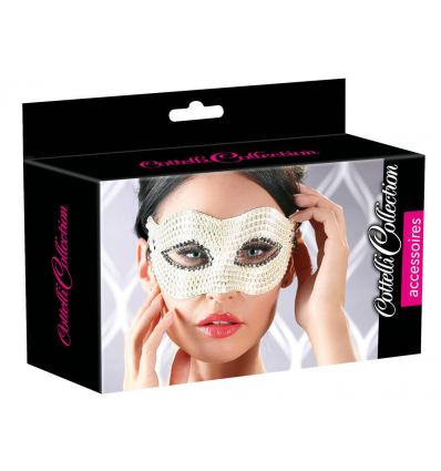 Bílá maska na oči Cottelli Pro Shaped Peary Eye mask