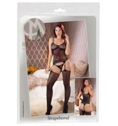 Černý podvazkový komplet s košilky a punčochami Mandy Mystery Red Lace-up Fishnet Top Set with Black