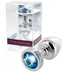 Anální kolík s krystalem Diogo Anni Blue Stone Silver Anal plug 2,5cm