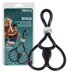 Erekční kroužek na penis a varlata Triple Ball and Cock Ring