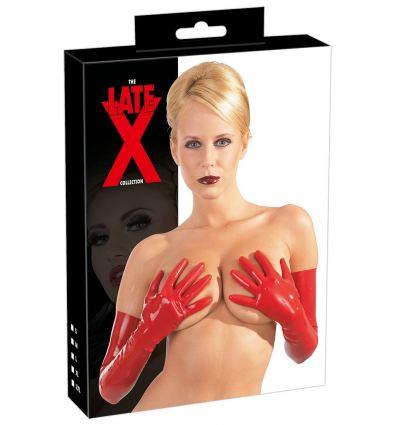 Červené latexové rukavice