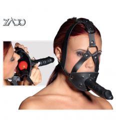 Kožená maska s dildom