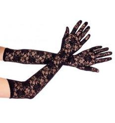 Extra dlhé čipkované rukavice - 1 pár (čierne)