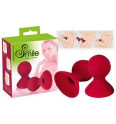Smile Nipple Teaser - silikónové prísavky na bradavky (červené)