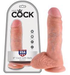 King Cock 8 dildo so semenníkmy (20 cm) - telová farba