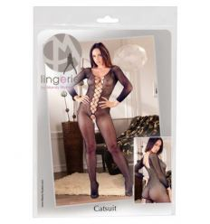 Pančuchové body Mandy Mystery Lace-up, Open Neck, Fishnet Full