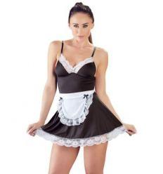 Cottelli - sexy šaty chyžnej so zásterou (čierno-biele)