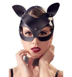 BDSM kočičí maska z koženky s kamínky Bad Kitty